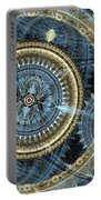 Blue And Gold Mechanical Abstract Portable Battery Charger