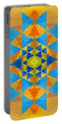 Blue And Gold Yantra Meditation Mandala Portable Battery Charger