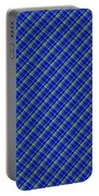 Blue And Green Diagonal Plaid Pattern Cloth Background Portable Battery Charger