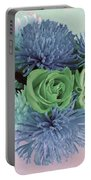 Blue And Green Flowers Portable Battery Charger