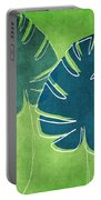 Blue And Green Palm Leaves Portable Battery Charger