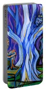 Blue And Purple Girl With Tree And Owl Portable Battery Charger