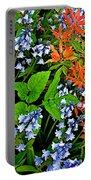 Blue And Red Flowers In Kuekenhof Flower Park-netherlands Portable Battery Charger