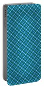 Blue And Teal Diagonal Plaid Pattern Textile Background Portable Battery Charger