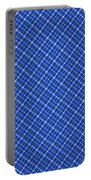 Blue And White Diagonal Plaid Pattern Cloth Background Portable Battery Charger