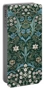 Blue And White Flowers On Green Portable Battery Charger