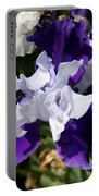 Blue And White Iris Portable Battery Charger