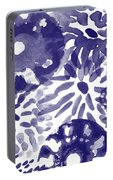 Blue Bouquet- Contemporary Abstract Floral Art Portable Battery Charger