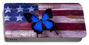 Blue Butterfly On American Flag Portable Battery Charger