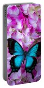 Blue Butterfly On Pink Hydrangea Portable Battery Charger
