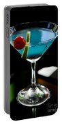 Blue Cocktail With Cherry And Lime Portable Battery Charger