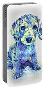 Blue Dapple Dachshund Puppy Portable Battery Charger by Jane Schnetlage