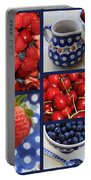 Blue Dishes And Fruit Collage Portable Battery Charger