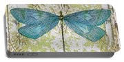 Blue Dragonfly On Vintage Tin Portable Battery Charger