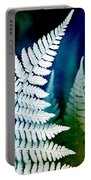 Blue Fern Leaf Art Portable Battery Charger