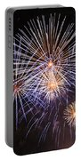 Blue Fireworks At Night Portable Battery Charger