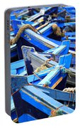 Blue Fishing Boats Portable Battery Charger