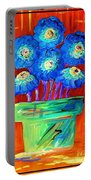 Blue Flowers On Orange Portable Battery Charger