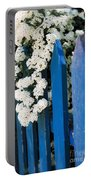 Blue Garden Fence With White Flowers Portable Battery Charger