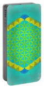 Blue Green Yellow Flower Of Life Portable Battery Charger