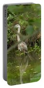 Blue Heron Hiding Reflection Portable Battery Charger