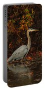 Blue Heron In The Fall Portable Battery Charger