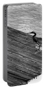 Blue Heron On Dock - Grayscale Portable Battery Charger