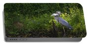 Blue Heron With A Fish-signed Portable Battery Charger