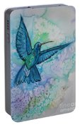 Blue Hummingbird In Flight Portable Battery Charger