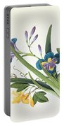 Blue Iris And Insects Portable Battery Charger