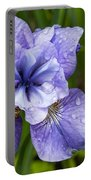 Blue Iris Flower Raindrops Garden Virginia Portable Battery Charger