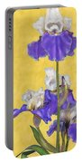Blue Iris On Gold Portable Battery Charger