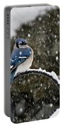 Blue Jay In Snow Storm Portable Battery Charger