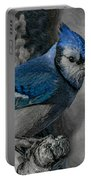 Blue Jay Painterly Portable Battery Charger
