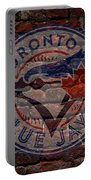 Blue Jays Baseball Graffiti On Brick  Portable Battery Charger by Movie Poster Prints
