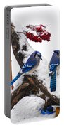 Blue Jays In Winter Portable Battery Charger