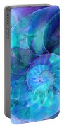 Blue Nautilus Shell By Sharon Cummings Portable Battery Charger