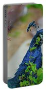 Blue Peacock Green Plants Portable Battery Charger