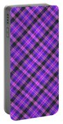 Blue Pink And Black Diagnal Plaid Cloth Background Portable Battery Charger