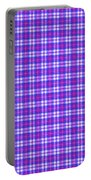 Blue Pink And White Plaid Cloth Background Portable Battery Charger