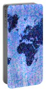 Blue Pointillist World Map Portable Battery Charger