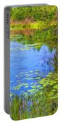 Blue Pond And Water Lilies Portable Battery Charger
