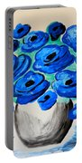 Blue Poppies Portable Battery Charger by Ramona Matei