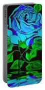 Blue Rose In The Rain Portable Battery Charger
