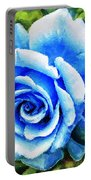 Blue Rose With Brushstrokes Portable Battery Charger