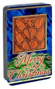 Blue Satin Merry Christmas Portable Battery Charger
