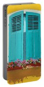 Blue Shutters And Flower Box Portable Battery Charger