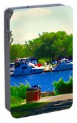 Blue Skies Boats And Bikes Montreal Summer Scene The Lachine Canal Seascape Art Carole Spandau Portable Battery Charger