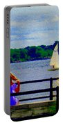 Blue Skies White Sails Drifting Blonde Girl And Collie Watch River Run Lachine Scenes Carole Spandau Portable Battery Charger