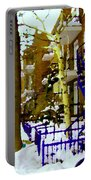 Blue Snowy Staircase And Birch Tree Montreal Winter City Scene Quebec Artist Carole Spandau Portable Battery Charger